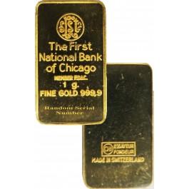 First National Bank Of Chicago 1g 1 Gram  999 Fine Gold Bar   Coin