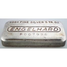 5 oz .999+ Fine Silver Machined Finish Engelhard Bar 8th P Series