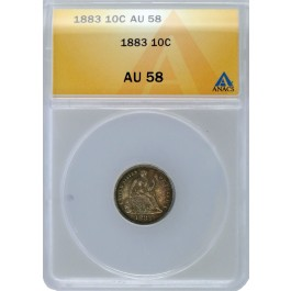 1883 10C Seated Liberty Dime Silver ANACS AU58 About Uncirculated Coin