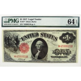 Series Of 1917 $1 Legal Tender Star Note Sawhorse Fr#37* PMG CH UNC 64 EPQ