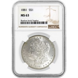 1881 $1 Morgan Silver Dollar NGC MS63 Uncirculated Mint State Coin