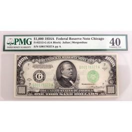 Series Of 1934 A $1000 Bill Note FRN Chicago Fr#2212-G GA Block PMG XF40