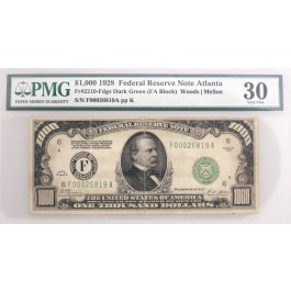Series Of 1928 $1000 Bill Note FRN Atlanta Dark Green Seal Fr#2210-Fdgs PMG VF30