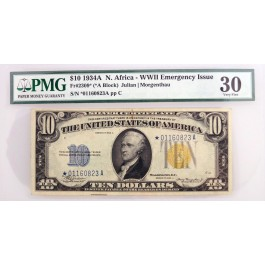 1934 A $10 Silver Certificate North Africa Star Note Fr#2309* *A Block PMG VF30