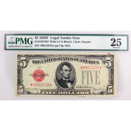 Series Of 1928 F $5 Legal Tender Note Fr#1531Wi* Wide I *A Block PMG VF25 Stain