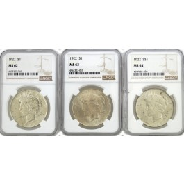 Lot Of 3 1922 $1 Silver Peace Dollars NGC MS62 MS63 MS64 Toned Spotted NR #2