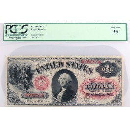 Series Of 1875 $1 Large Size Red Seal Legal Tender Note Fr#26 PCGS Currency VF35