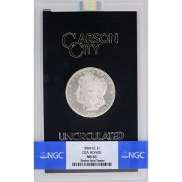 1884 CC Carson City $1 Morgan Silver Dollar NGC MS63 GSA Hoard Uncirculated Coin