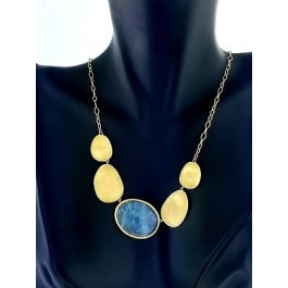 """Marco Bicego Lunaria 18k Yellow Gold Faceted Aquamarine Necklace 18"""""""