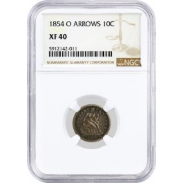 1854 O Arrows 10C Seated Liberty Dime Silver NGC XF40 Circulated Coin