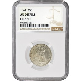 1861 25C Seated Liberty Quarter Silver  NGC AU Details Cleaned Coin
