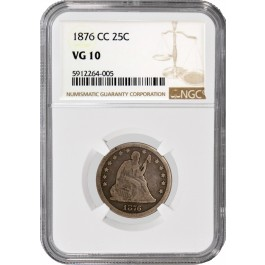 1876 CC 25C Seated Liberty Quarter Silver  NGC VG10 Very Good Circulated Coin