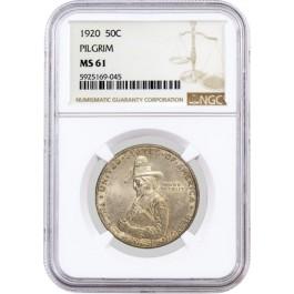 1920 50C Pilgrim Tercentenary Commemorative Silver Half Dollar NGC MS61 Coin