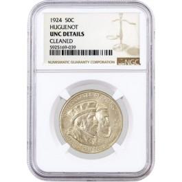 1924 50C Huguenot Tercentenary Commemorative Silver Half Dollar NGC UNC Details