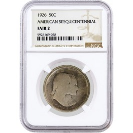 1926 50C American Sesquicentennial Commemorative Silver Half Dollar NGC Fair 2