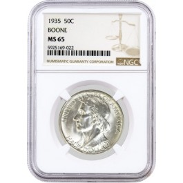 1935 50C Daniel Boone Bicentennial Commemorative Silver Half Dollar NGC MS65