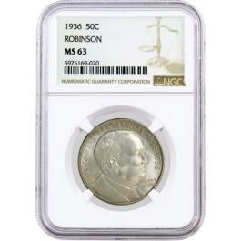 1936 50C Arkansas Centennial Robinson Commemorative Silver Half Dollar NGC MS63