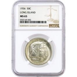 1936 50C Long Island Tercentenary Commemorative Silver Half Dollar NGC MS65 #002