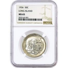 1936 50C Long Island Tercentenary Commemorative Silver Half Dollar NGC MS65 #003