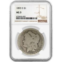 1893 S $1 Morgan Silver Dollar NGC AG3.