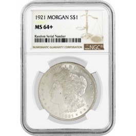 1921 $1 Morgan Silver Dollar NGC MS64+