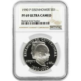 1990 P $1 Eisenhower Centennial Commemorative Silver Dollar NGC PF69 UC