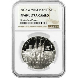2002 W $1 West Point Bicentennial Commemorative Silver Dollar NGC PF69 UC