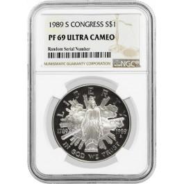 1989 S $1 Congress Bicentennial Commemorative Silver Dollar NGC PF69 UC