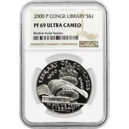 2000 P $1 Library Of Congress Bicentennial Commemorative Silver Dollar NGC PF69 UC