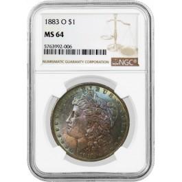 1883 O $1 Morgan Silver Dollar NGC MS64 Toned