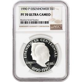 1990 P $1 Eisenhower Centennial Commemorative Silver Dollar NGC PF70 UC