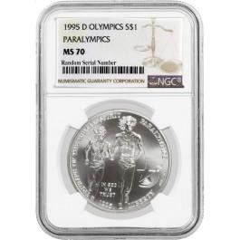 1995 D $1 XXVI Olympics Paralympics Commemorative Silver Dollar NGC MS70