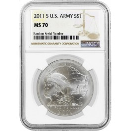 2011 S $1 U.S. Army Commemorative Silver Dollar NGC MS70