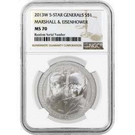 2013 W 5 Star Generals Marshall Eisenhower Commemorative Silver Dollar NGC MS70