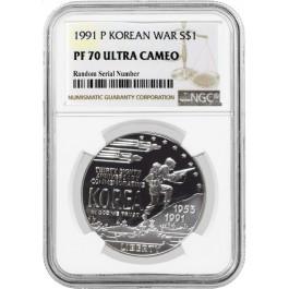 1991 P $1 Korean War Memorial Commemorative Silver Dollar NGC PF70 UC