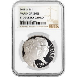 2015 W $1 March Of Dimes Commemorative Silver Dollar NGC PF70 Ultra Cameo