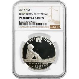 2017 P $1 Boys Town Centennial Commemorative Silver Dollar NGC PF70 UC