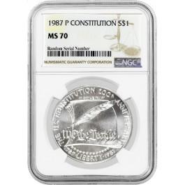 1987 P $1 U.S. Constitution Bicentennial Commemorative Silver Dollar NGC MS70