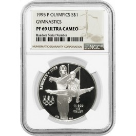 1995 P $1 XXVI Olympics Gymnastics Commemorative Silver Dollar NGC PF69 UC