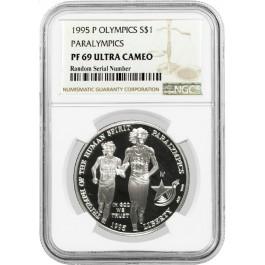 1995 P $1 XXVI Olympics Paralympics Commemorative Silver Dollar NGC PF69 UC