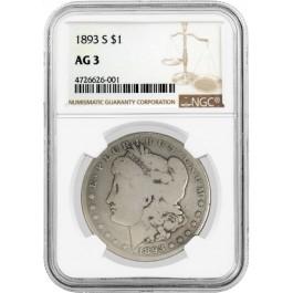 1893 S $1 Morgan Silver Dollar NGC AG3