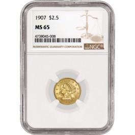 1907 1907/1907 $2.50 Liberty Head Quarter Eagle Gold B-6329 VP-002 NGC MS65