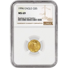 1996 $5 1/10 oz Gold American Eagle NGC MS69 Gem Uncirculated Coin