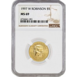 1997 W West Point $5 Gold Jackie Robinson Commemorative Coin NGC MS69