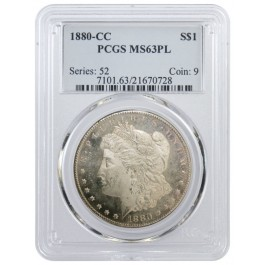 1880 CC $1 Morgan Silver Dollar PCGS MS63 PL