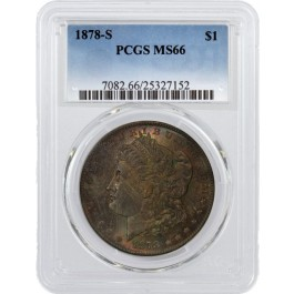 1878 S $1 Morgan Silver Dollar PCGS MS66 Rainbow Toning