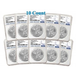 Lot Of 10 - 2020 (P) $1 Silver American Eagle NGC MS69 Early Releases ER Live Ready to Ship
