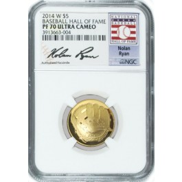 2014 W $5 Proof Gold Baseball Hall Of Fame Commemorative Nolan Ryan NGC PF70 UC
