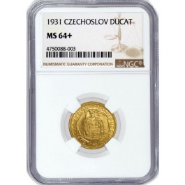1931 Ducat Gold Czechoslovakia Republic .1106 oz NGC MS64+ POP 1