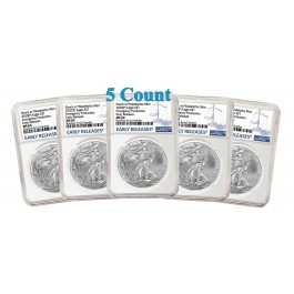 Lot Of 5 - 2020 (P) $1 Silver American Eagle NGC MS69 Early Releases ER Live Ready to Ship